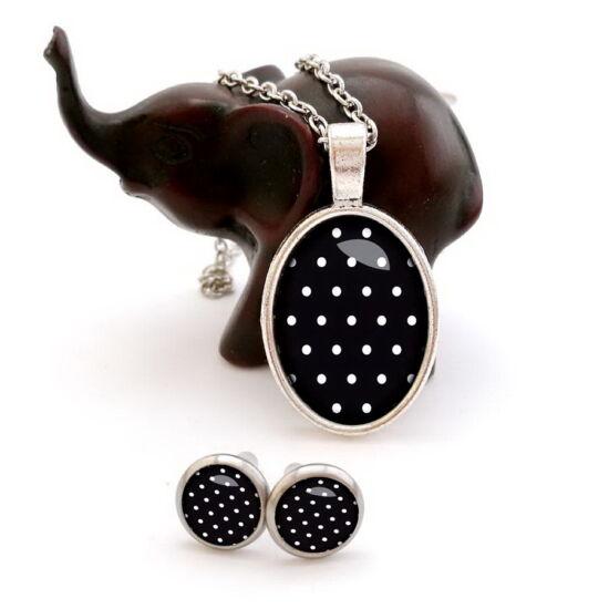5152e0a05 Fekete-fehér pöttyös ékszer szett (nyaklánc + bedugós füli)