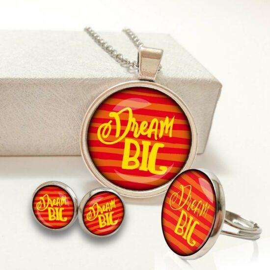 449312446f Piros csíkos Dream big feliratos ékszer szett (nyaklánc+bedugós füli+gyűrű)