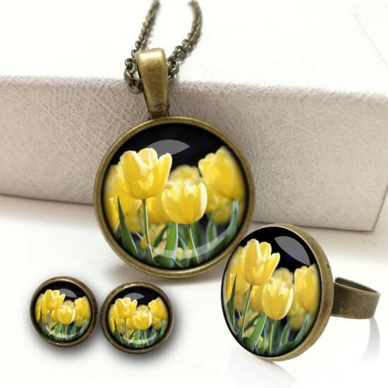 720bda3369 Sárga tulipán ékszer szett (nyaklánc+bedugós füli+gyűrű)
